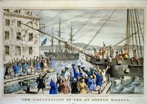 """Iconic 1846 lithograph by Nathaniel Currier entitled """"The Destruction of Tea at Boston Harbor""""; the phrase """"Boston Tea Party"""" had not yet become standard. Contrary to Currier's depiction, few of the men dumping the tea were actually disguised as Indians (Wikipedia Commons)"""